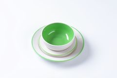 Green and white dinner set Stock Images