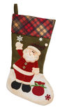 Green and white empty stocking with Santa Claus Royalty Free Stock Photo