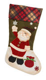 Green and white empty stocking with Santa Claus Stock Image