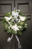 Green and white feather wreath Stock Photos