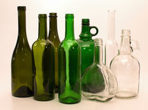 Green and white glass bottles Royalty Free Stock Images