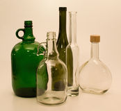 Green and white glass bottles Royalty Free Stock Photos