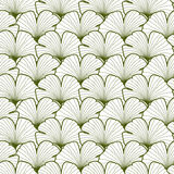 Green and white graphic ginkgo leaves seamless pattern Stock Photo