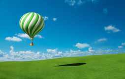 Green-white Hot Air Balloon in the blue sky. 3d hot air balloon in the blue sky and green meadow Royalty Free Stock Photos
