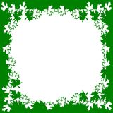 Green white leaves frame background Stock Photo