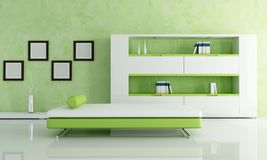 Green and white living room Stock Photo