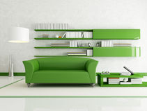 Green and white living room Royalty Free Stock Images
