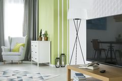 Green and white living room royalty free stock image