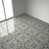 Green and white marble floor tiles in empty room with big window Stock Images
