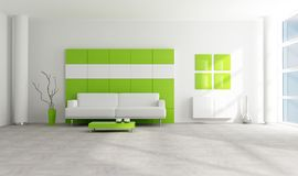 Green and white modern lounge Stock Photos