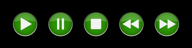 Green, white music control buttons set Royalty Free Stock Photography