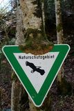 Green and White Naturschutzgebiet Sign Royalty Free Stock Images
