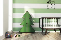 Green and white nursery, crib and fur tree. Green and white striped nursery with a wooden crib, a houses shaped bookshelf, a fur tree shaped wardrobe, an abacus Stock Photos