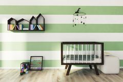 Green and white nursery, crib. Green and white striped nursery with a wooden crib, a houses shaped bookshelf, an abacus and a building blocks set. 3d rendering Royalty Free Stock Photos