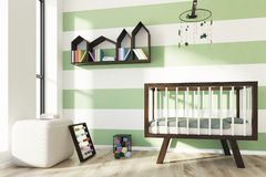 Green and white nursery, crib, side. Green and white striped nursery with a wooden crib, a houses shaped bookshelf, an abacus and a building blocks set. Side Stock Photography