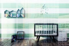 Green and white nursery, crib toned. Green and white striped nursery with a wooden crib, a houses shaped bookshelf, an abacus and a building blocks set. 3d Royalty Free Stock Images