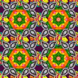 Abstract colored picture. Green, white and orange colors. Colored elements. Abstract raster decorative ethnic mandala sketchy seamless pattern stock illustration