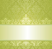 Green & white ornamental vintage invitation design Stock Images