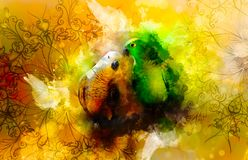 Green and white parrots and ornaments and softly blurred watercolor background. royalty free illustration