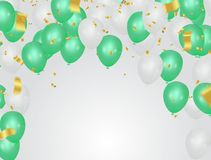 Green and White party balloons on the white background. Epc.10 Royalty Free Stock Photos