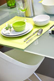 A green-white place settings Royalty Free Stock Images