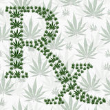Green and White Prescription symbol made from Marijuana Leaves P Stock Images