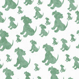 Green and White Puppy Dog Tile Pattern Repeat Background Royalty Free Stock Image