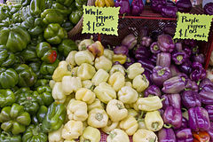 Green White and Purple Bell Peppers Royalty Free Stock Photography