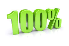 Green 100% on a white. Green 100% quality icon. 3d rendered image royalty free illustration