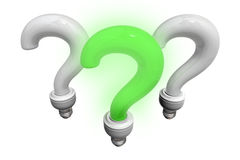 Green and white question bulbs Stock Image