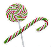 Green, white and red candy Christmas stick, lollipop Royalty Free Stock Photos