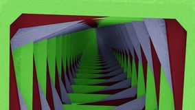 Green white red tunnel. Tunnel to infinity with green white red sides Royalty Free Stock Photography