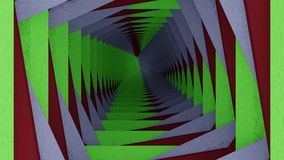 Green white red tunnel. Tunnel to infinity with green white red sides Stock Photo