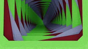 Green white red tunnel. Tunnel to infinity with green white red sides Stock Photography