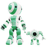 Green and white robots Stock Image