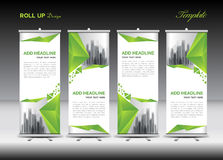 Green and white Roll Up Banner template design Stock Image