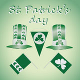 Green-and-white set for St. Patrick`s Day. Royalty Free Stock Photo