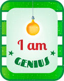 Green, white striped card with text I am genius Royalty Free Stock Photos