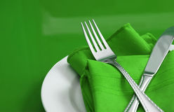 Green and White Table Setting Royalty Free Stock Image