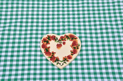 Green and white tablecloth Stock Image