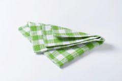 Green and white tea towel Stock Image