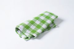 Green and white tea towel Royalty Free Stock Photo