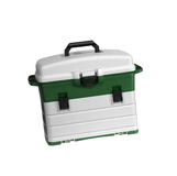 Green and white tool box isolated. On white background stock image
