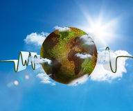 Green and white waveform with green and brown textured earth. On blue sky background Stock Photo