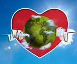 Green and white waveform with green earth and red heart. Onblue sky background Stock Images