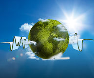 Green and white waveform with green textured earth. On blue sky background Royalty Free Stock Photography