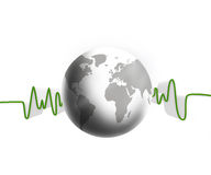 Green and white waveform with white earth Stock Photography