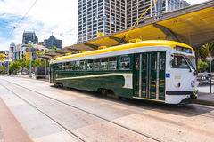 The green white yellow tram in San Francisco Royalty Free Stock Photos