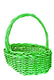 Green wicker basket isolated Stock Photos