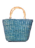 Green wicker shopping bag Stock Photo